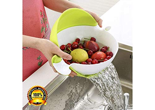VOETEX ZONE Multifunctional Washing Vegetables and Fruit Draining Basket Strainer, Fruit Basket for Dining Table,Drain Basket- Made in India (Multi Colour) Price & Reviews