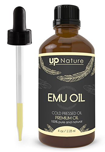 UpNature The Best Emu Oil 4 oz - 100% Pure and Natural, Undiluted and Unfiltered, GMO Free, Premium Quality - for Healthy Hair & Skin - Use to Make Soap, Shampoo & Lotion - Can Be Used On Dogs ()