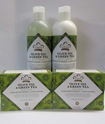 Olive & Green Tea Soap, Lotion & Body Wash Set.. by Nubian Heritage (4 Pack)... iwgl