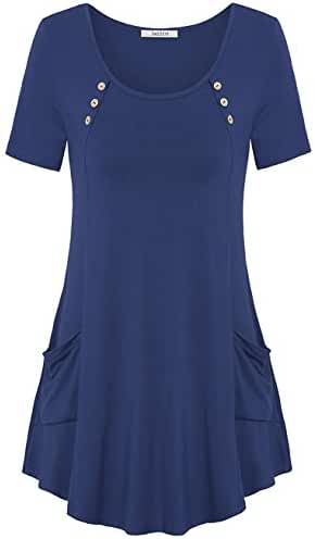 Jazzco Women's Comfy Short Sleeve Shirts With Pockets Swing Tunic Top