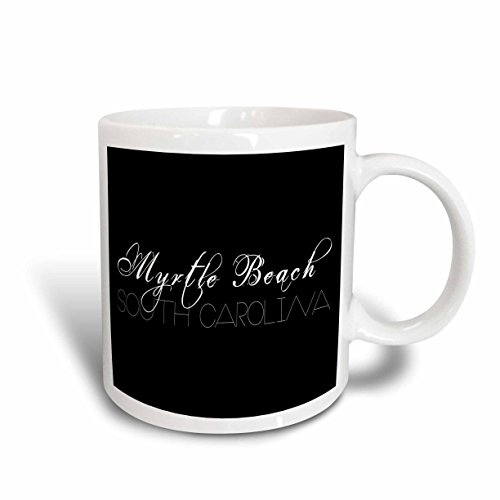 3dRose Alexis Design - American Beaches - American Beaches - Myrtle Beach, South Carolina on black - 11oz Mug - Carolina South Beach Outlets Myrtle