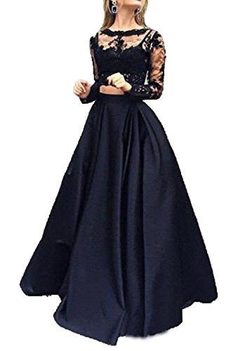 Little Star 2 Piece Women's Long Sleeve Evening Gown Prom Dress, 1 Black, 6