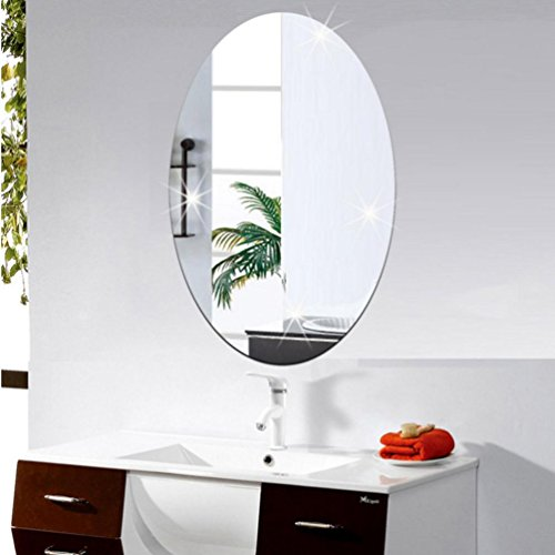 3D Wall Stickers,TPTPT 3D Fashion Self Adhesive Oval PS Mirror Wall Sticker for Bathroom (Silver) ()