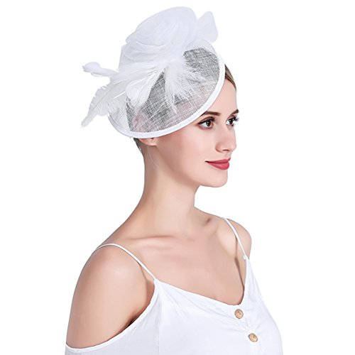 inSowni Flower Tea Party Sinamay Fascinators Hat Cap Feather Mesh Headband Clip for Women Girls (White S2) by inSowni (Image #2)