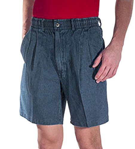 Creekwood Elastic Waist Twill Shorts for Big & Tall Men – 38tall – Denim by Creekwood