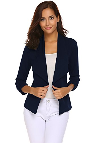 Qearal Womens Solid 3/4 Ruched Sleeve Open Front Draped Lapel Work Office Blazer Jacket (S, (Navy Blazer)