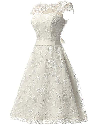 Dress Wedding with Knee Dresses Dresses Vintage Sash Bride Lace JAEDEN Bridal for Wedding Length pF4w5q5