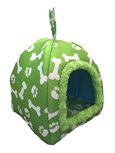 WOWOWMEOW Small Animals Warm Cave Bed Bones & Paws Print House for Guinea Pigs, Hamsters, Chinchillas, Hedgehogs, Squirrels and Rabbits (Green)