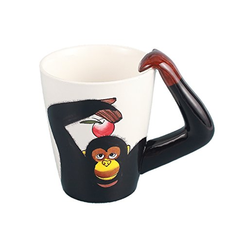 Gift Unique Monkey (Neolith 3D Hand-painted Cute Animals Ceramic Coffee Mug Monkey Coffee Mug Cup Creative Gifts Ideas for Kids Women Men 12.5 oz Can Funny Novelty Coffee Mug Unique Black Gifts Box (12.5 oz, Chimpanzee))