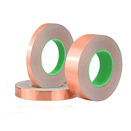 - 3 Pack Copper Foil Tape,Double-Sided Conductive Copper Tape for EMI Shielding, Stained Glass, Art Work, Soldering, Electrical Repairs, Grounding(6 mm, 12 mm,24 mm)