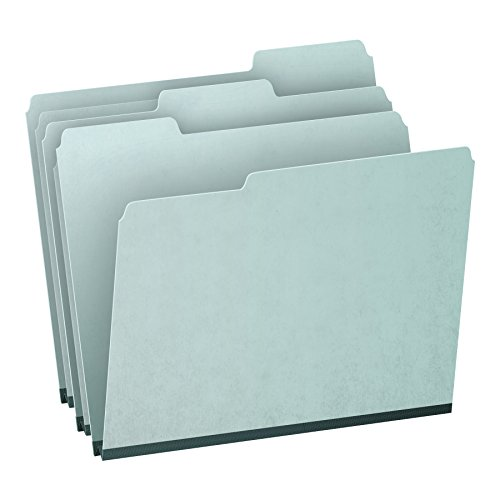 "Pendaflex 1"" Expansion Pressboard File Folders with 1/3 Cut Tab, Letter, Blue, 25/Box (9200T 1/3)"