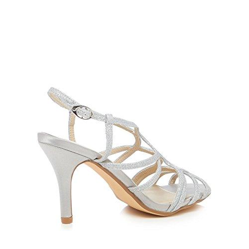 Debut Womens Silver 'Dias' Mid Stiletto Heel Wide Fit Sandals d53PZx2