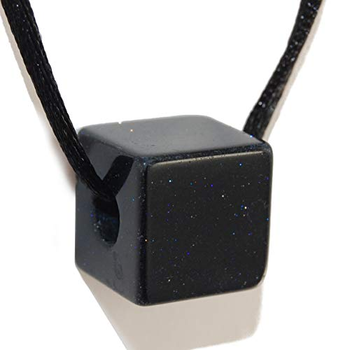 - Steampunkers USA Unchained Core Elements - 16mm Cube Block Square Galaxy Goldstone Black – Smelt Gemstone Tribal Ethnic Carved Necklace