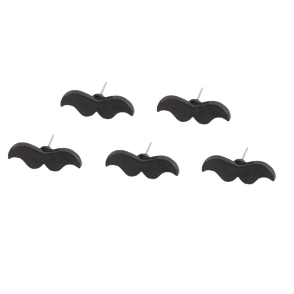 Joyci Red Lip&Mustache Push Pin,Set of 24 (Black Mustache)
