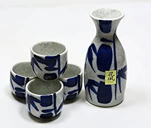 Blue Bamboo Japanese Porcelain Sake Set Sake Bottle Sake Cups Se70/Wb S-3455