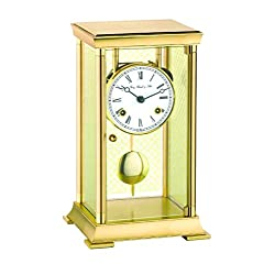 Qwirly Lyon Mechanical Brass Mantel Clock with Pendulum by Hermle, Close Out Model 22997-000131