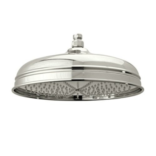 Rohl 1047/8PN 12-Inch Diameter Bordano Shower Rose Showerhead with Easy Clean Anti-Cal Spray Pattern Swivel, Polished Nickel -