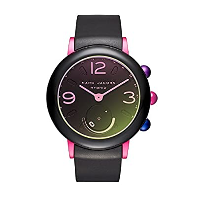 Marc Jacobs Women's 'Riley Hybrid' Quartz Stainless Steel and Rubber Smart Watch, Color Black (Model: MJT1003) from Marc Jacobs Connected Watches Child Code