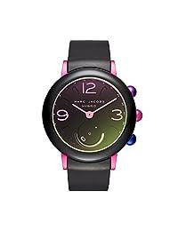 Marc Jacobs Riley reloj inteligente híbrido para mujer con correa de silicona deportiva, Negro/Rosado