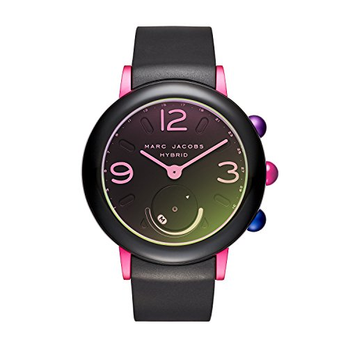 Marc Jacobs Women's 'Riley Hybrid' Quartz Stainless Steel and Rubber Smart Watch, Color:Black (Model: MJT1003)