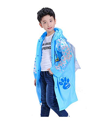 Ancmaple Rain Jacket for Kids Waterproof Hooded Cartoon Raincoat with Schoolbag Position Pockets