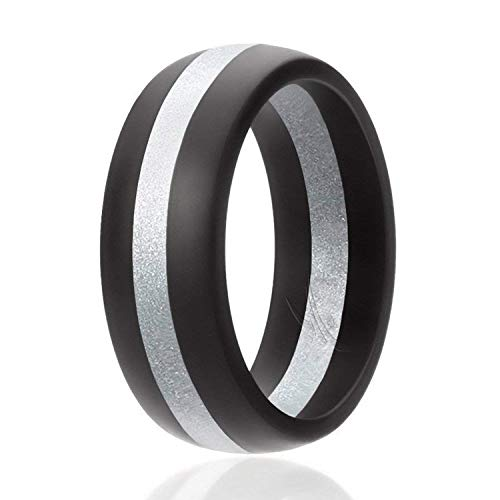 ROQ Silicone Wedding Ring for Men, Silicone Rubber Band - Black with Silver Stripe, Size 8 ()