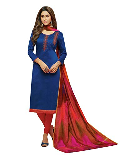 Womens Blended Silk Handworked Salwar Kameez with Banarasi Dupatta Womens Indian Pakistani Dress Ready to wear Salwar Suit (Size_34/ Royal Blue) Blue Cotton Silk Kameez