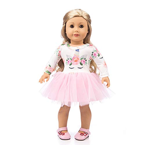 YOMORES Unicorn Dress for 18 Inch American Girl Doll Pink Long Sleeve Veil Soft Cotton Unicorn Dress(C3)