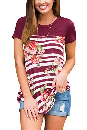 Womens Blouses and Tops Short Sleeve Casual T-Shirts Plus Size Wine -