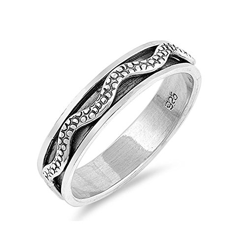 Precious Gem Jewellers .925 Sterling Silver Textured Wave Design Spinner Ring -