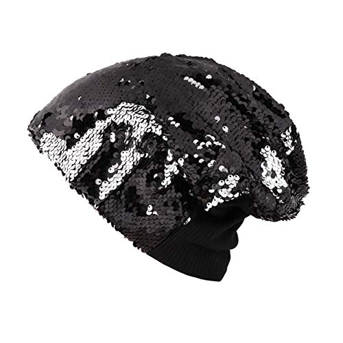(KINGSEVEN Unisex Winter Reversible Sequin Knitted Hat Oversized Warm Chunky Cuff Beanie Black)