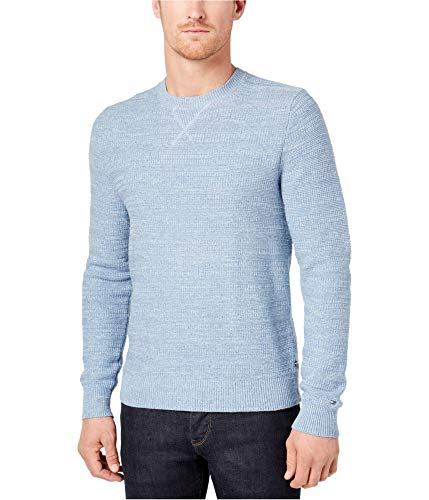 Tommy Hilfiger Mens Textured Stripe Pullover Sweater Blue M