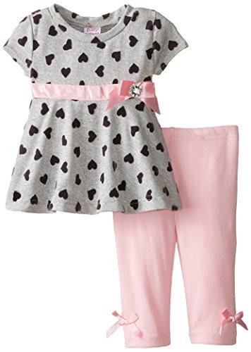 Blueberi Boulevard Baby-Girls Newborn Short Sleeve Heart Legging Set, Grey, 3-6 Months