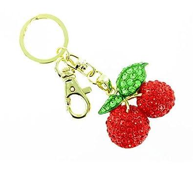 Rojo y verde a presión llavero chapado en oro Cherry/bolso ...