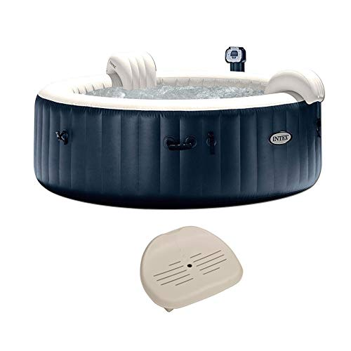 (Intex Pure Spa Inflatable 6 Person Outdoor Bubble Hot Tub + Non Slip Seat Insert)