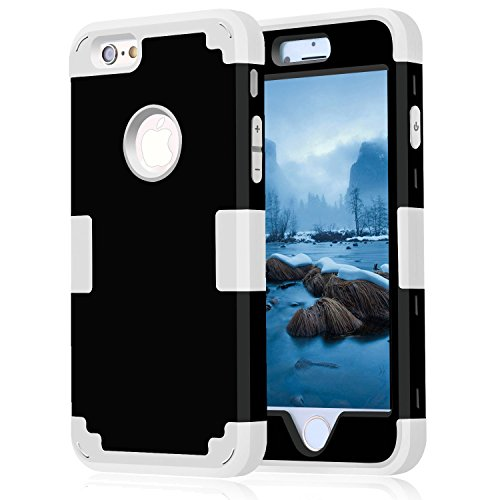 iPhone 6 Case 4.7, iPhone 6 Cases Hard Cover Shell TPU Rubber 2 Piece Ultra Slim Thin Bumper Covers Apple iPhone 6S Case Durable Protective Design Hybrid Defender Heavy Duty Shockproof (Black Grey)