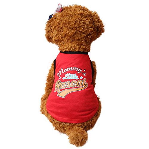 Wakeu Puppy Vest Pattern Pet Clothes for Small Dog Boy Girl Summer Apparel (S, Mommy's Little Rascal)
