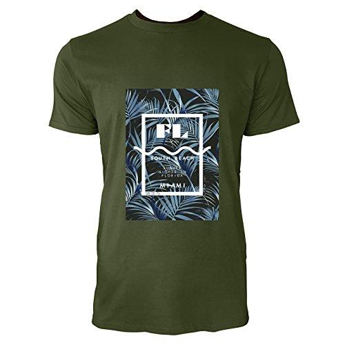 SINUS ART® Palmen mit Florida South Beach Aufschrift Herren T-Shirts in Armee Grün Fun Shirt mit tollen Aufdruck
