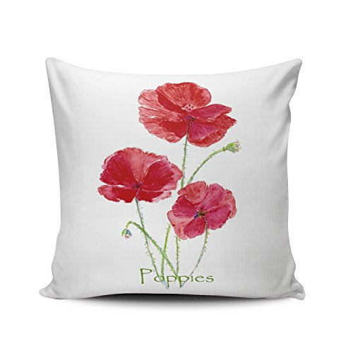 (Fanaing Watercolor Bright Red Poppy Flower Art Pillowcase Home Sofa Decorative 18X18 Inch Square Throw Pillow Case Decor Cushion Covers One-Side Printed)