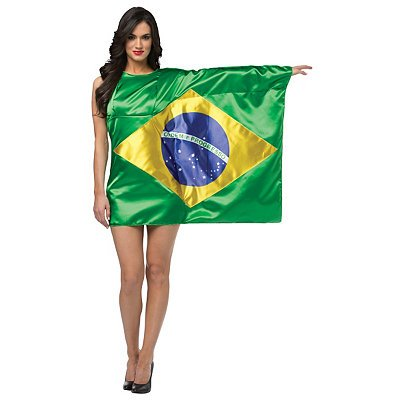 Flag Dress Brazil Costume - One Size - Dress Size 6-10