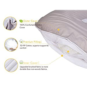 "Dream Full Body Pillow with Washable Cotton Cover - Maternity Pillow for Pregnant Women - Sleeping - Back Pain Relief, 60"" x 31"" x 7.8"" (White & Grey)"