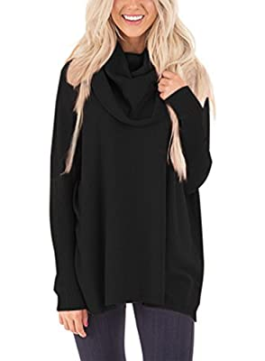 Dokotoo Womens Loose Cowl Neck Long Sleeve Solid Pullover Sweaters