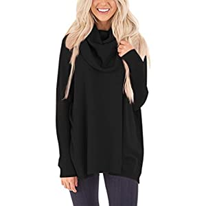 Bdcoco Women's Cowl Neck Over Size Long Sleeve Knit Pullover Sweater