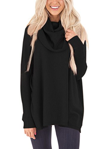 LOSRLY Women Cowl Neck Solid Long Ribbed Sleeve Knit Pullover Sweater-Black M 8 (Ribbed Pullover Sweater)