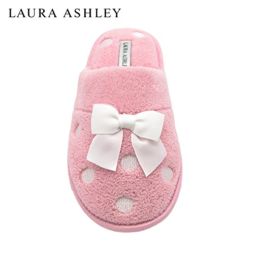 laura-ashley-ladies-embroidered-soft-terry-scuff-slipper-pastel-pink-size-m