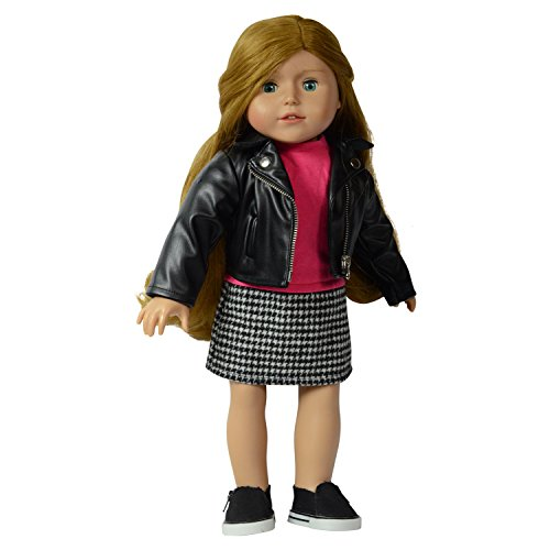 The New York Doll Collection Leather Jacket with Dress - Pink Top and Houndstooth Printed Bottom ()