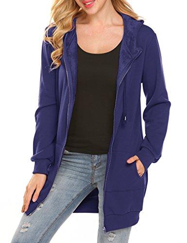 Women Winter Zip Up Hoodie Sweatshirt Tunic Jacket With Fleece (S, - Fleece Sweatshirt Winter