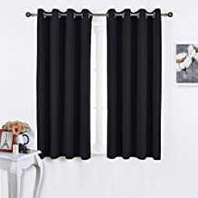 NICETOWN Kitchen Window Blackout Curtains - Home Decoration Thermal Insulated Solid Grommet Curtains (Two Panels, 52 by 45 Inch, Black)