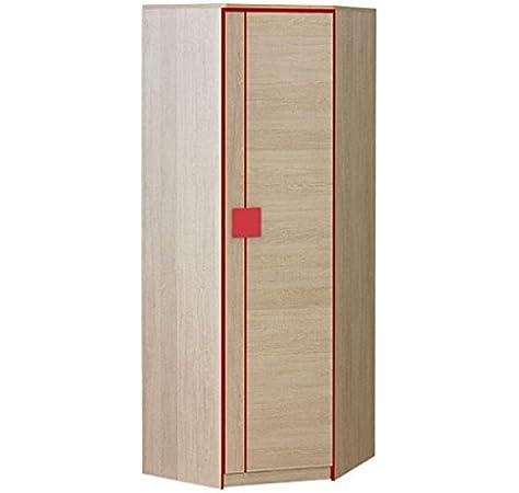 Smartbett GmbH - Armario de esquina con una puerta (roble Santana), color rojo: Amazon.es: Hogar