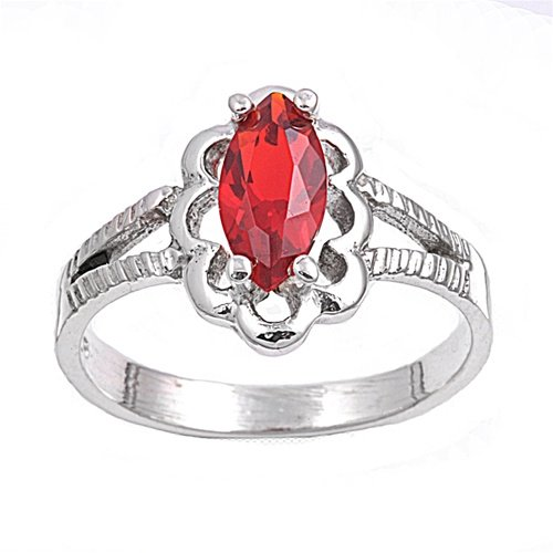 Simulated Marquise Ruby - 925 Sterling Silver Marquise Flower Filigree Simulated Ruby 11MM Cubic Zirconia Petite Rings Size 3